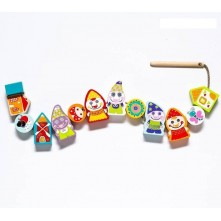 Dwarfs-peasants, wooden toy 13 pieces