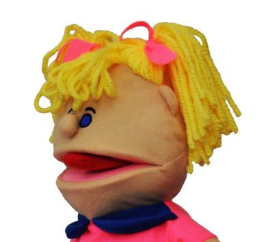 Лялька-рукавичка Puppets з язиком, дівчинка в рожевому, 1 шт.