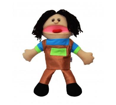 Лялька-рукавичка Puppets з язиком, хлопчик в коричневому комбінезоні, 1 шт.