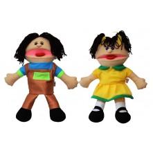 """Ляльки-рукавички Puppets з язиком, набір № 2 """"Хлопчик і дівчинка"""""""