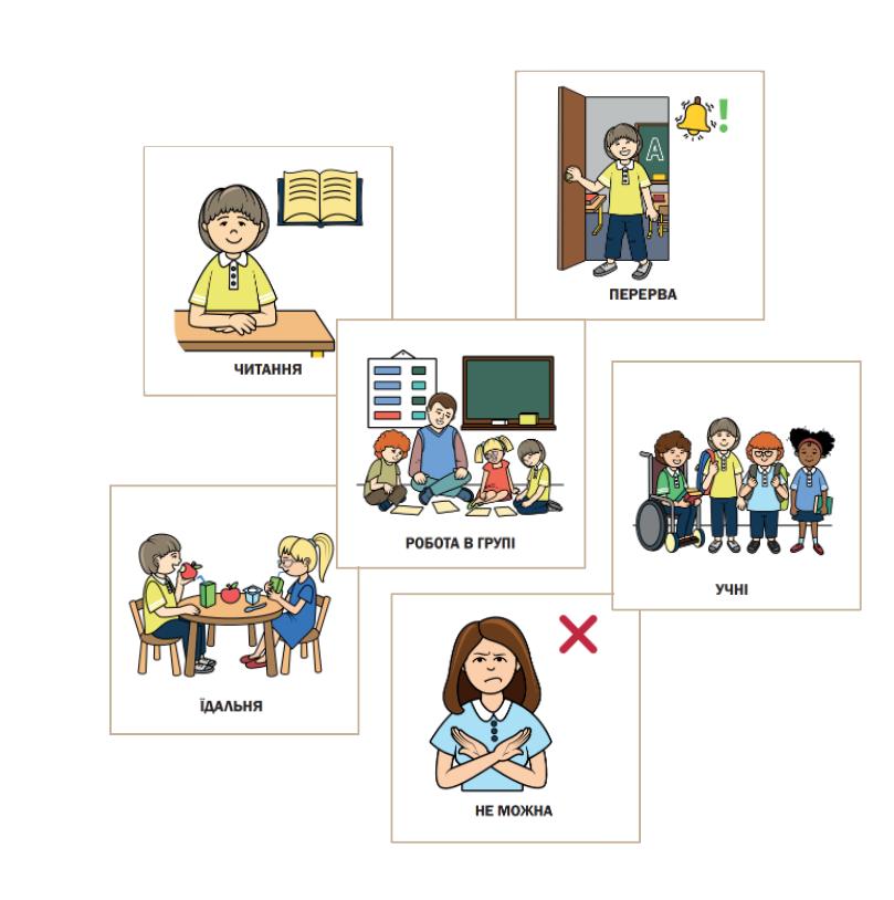 картинка картки візуальної підтримки для інклюзії